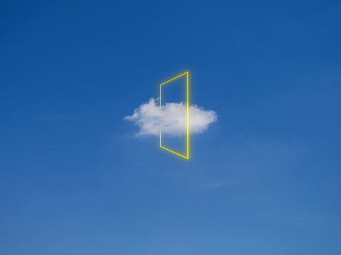 Multi-Layered Effect「Yellow light rectangle around cloud, digital composite」:スマホ壁紙(13)