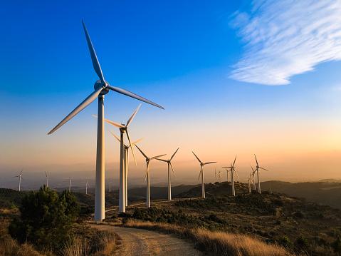 Mill「Wind farm at sunset.」:スマホ壁紙(10)