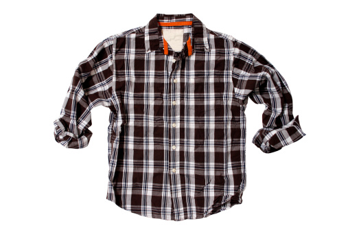 Clothing「Brown Plaid Shirt - White Background」:スマホ壁紙(8)