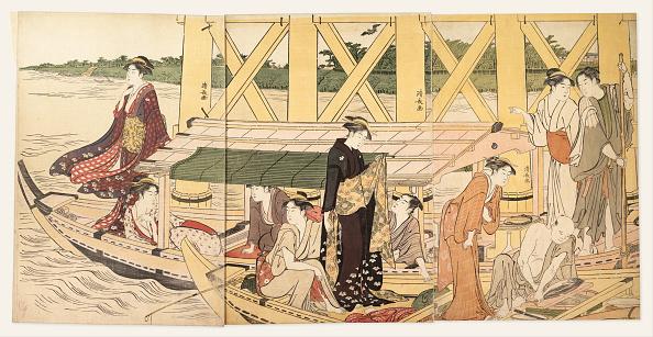 江戸時代「Boating Parties Under The Ryogoku Bridge C 1785」:写真・画像(5)[壁紙.com]