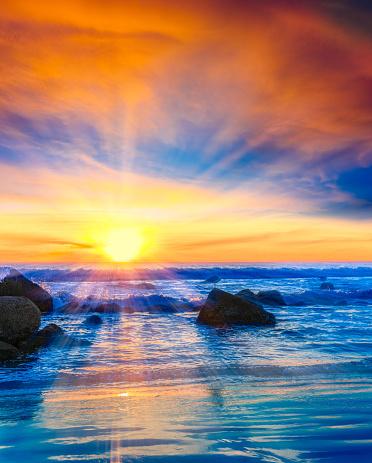 夕焼け 海「サンセットコロナドビーチ、サーフィン、サンディエゴ、カリフォルニア州」:スマホ壁紙(7)