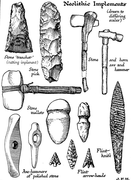 武器「Neolithic implements of stone, flint and horn, c1890.」:写真・画像(8)[壁紙.com]