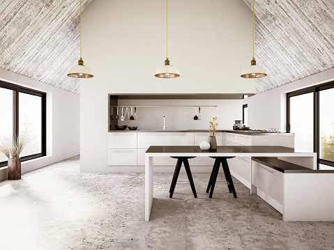 Kitchen「Modern Apartment Iinterior with Kitchen」:スマホ壁紙(0)