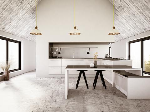 Clean「Modern Apartment Iinterior with Kitchen」:スマホ壁紙(17)