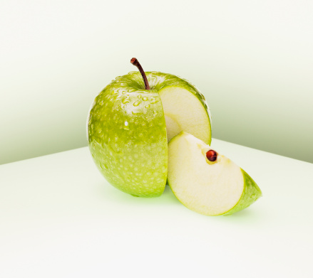 リンゴ「Juicy カットのグリーンアップル」:スマホ壁紙(18)