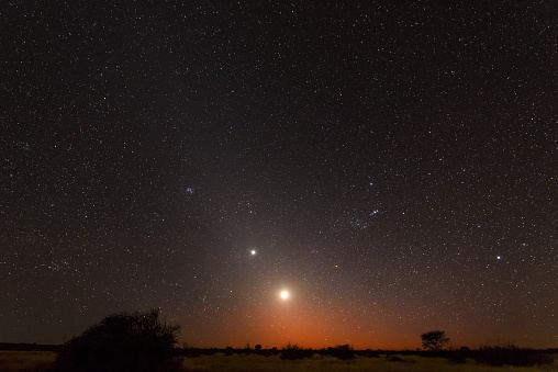 Moon「Namibia, Region Khomas, near Uhlenhorst, Astrophoto, RIsing moon and Planet Venus embedded in glowing Zodiacal Light during dawn, constellation Orion upside down」:スマホ壁紙(7)