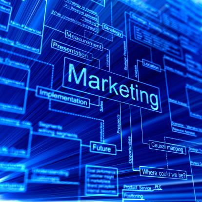 Marketing「Marketing 3d flowchart on a blue backgroud」:スマホ壁紙(11)