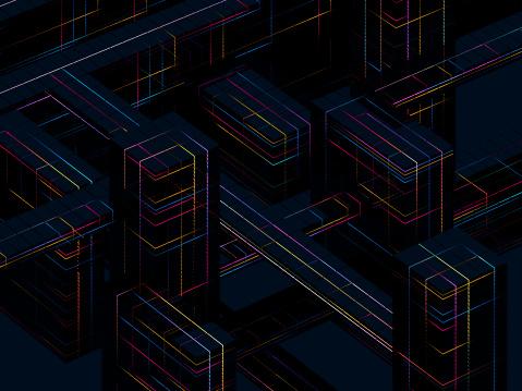 Quantum Computing「Glowing blocks」:スマホ壁紙(13)
