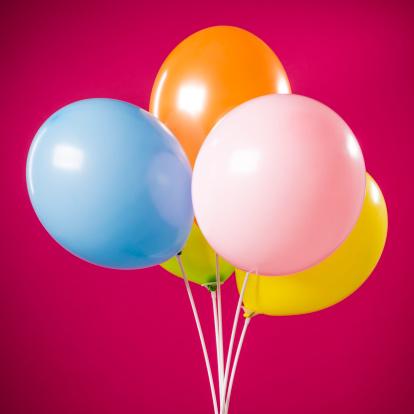 Graduation「Happy birthday, five party multicolored balloons isolated on magenta」:スマホ壁紙(4)