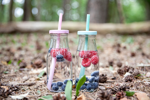 Infused「Two glasses of infused water with blueberries and raspberries in forest」:スマホ壁紙(9)