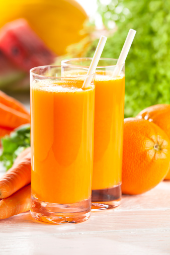 Carrot Juice「Two glasses with orange and carrot juice」:スマホ壁紙(9)