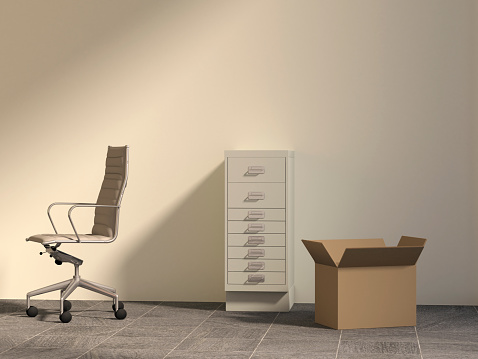 Filing Cabinet「Office chair, drawer cabinet and cardboard box in an empty office, 3D Rendering」:スマホ壁紙(14)