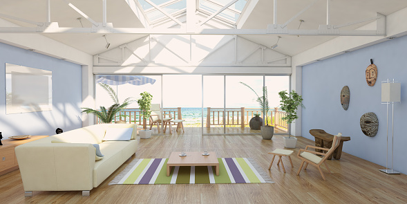 Coastline「Cozy Home Interior At Seashore With Sea View」:スマホ壁紙(4)