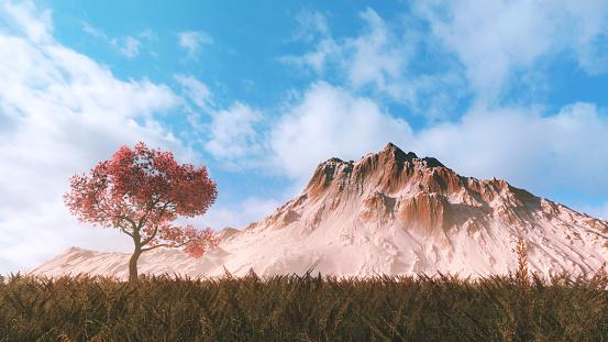 Satoyama - Scenery「Cherry tree on the field」:スマホ壁紙(18)