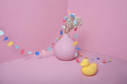 おもちゃのアヒル「pink party and duck」:スマホ壁紙(2)