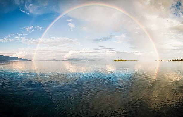 Full rainbow over the sea:スマホ壁紙(壁紙.com)