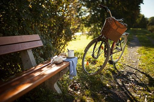 秋「Bicycle next to on wooden bench」:スマホ壁紙(8)