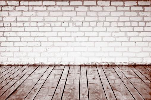 Brick Wall「Brick wall and wood planks in old interior」:スマホ壁紙(4)
