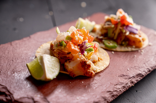 Taco「Mexican Style Fish Street Food Tacos on a Rustic Slate Ready to Eat」:スマホ壁紙(5)
