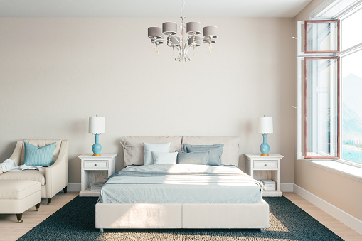 Sea「Airy Bedroom Interior With Beautiful View」:スマホ壁紙(9)