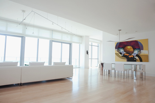 Miami「Sofa and dining table in open living space of apartment」:スマホ壁紙(12)