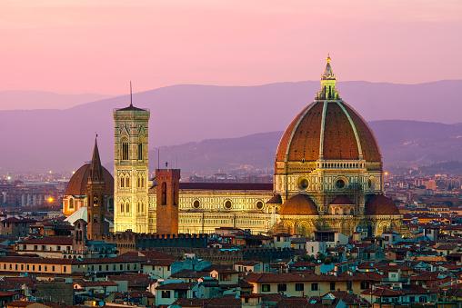 Cathedral「Florence, Duomo Santa Maria del Fiore at dusk」:スマホ壁紙(1)