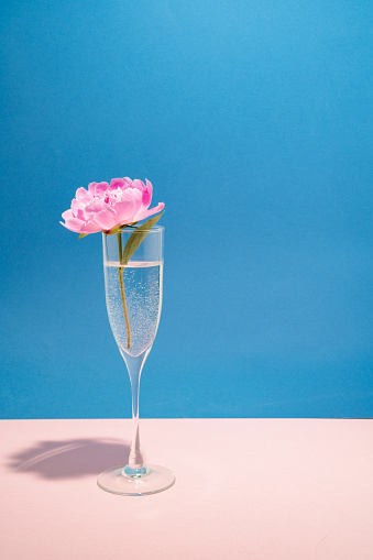 Champagne Flute「Pink peony in a glass of champagne」:スマホ壁紙(12)