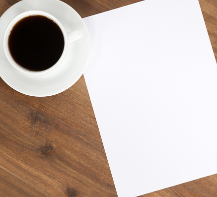 Coffee - Drink「Coffee and Blank Paper Copy Space on Desk」:スマホ壁紙(17)