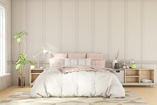 Double Bed「Scandinavian Style Loft Empty Bedroom Interior」:スマホ壁紙(15)