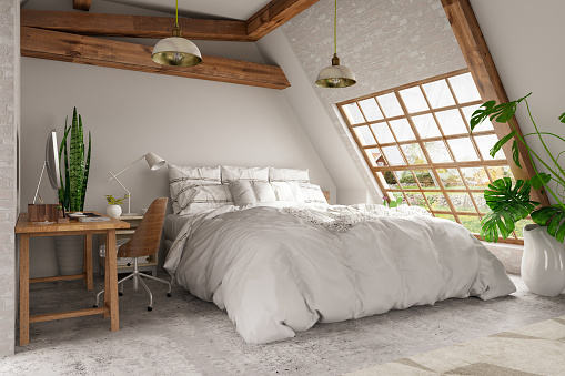 Wool「Scandinavian Style Loft Empty Bedroom Interior」:スマホ壁紙(0)