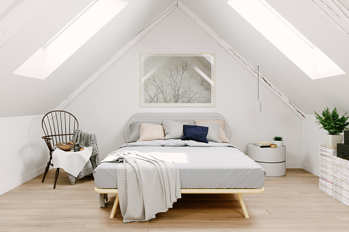Bed - Furniture「Scandinavian Style Attic Bedroom Interior」:スマホ壁紙(5)