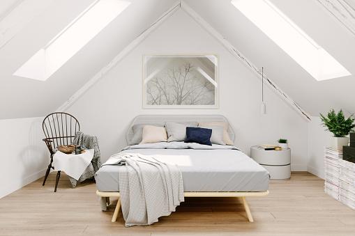 Rooftop「Scandinavian Style Attic Bedroom Interior」:スマホ壁紙(8)