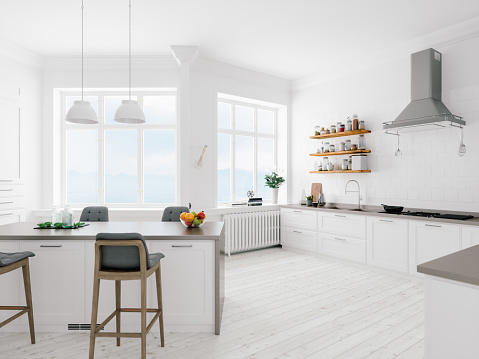Flat「Scandinavian Design Minimalist Kitchen Interior」:スマホ壁紙(8)