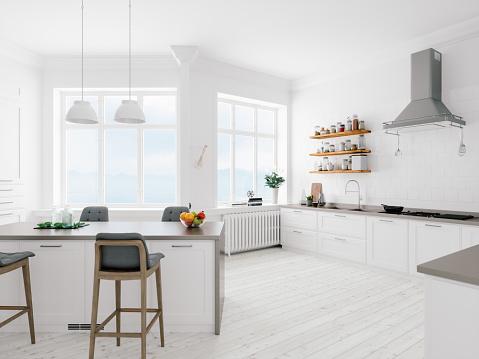 Clean「Scandinavian Design Minimalist Kitchen Interior」:スマホ壁紙(19)