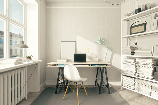 Laptop「Scandinavian Style Home Office Interior」:スマホ壁紙(11)