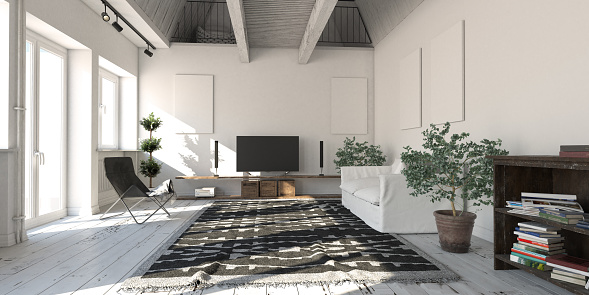 Panoramic「Scandinavian Loft Apartment Living Room」:スマホ壁紙(16)
