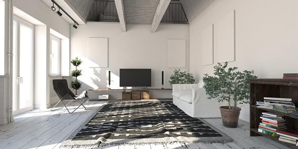 Panoramic「Scandinavian Loft Apartment Living Room」:スマホ壁紙(7)