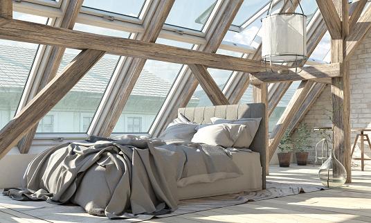 Pastel「Scandinavian Loft Bedroom Interior」:スマホ壁紙(3)