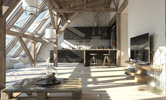 Domestic Kitchen「Scandinavian Attic Living Room Interior」:スマホ壁紙(12)