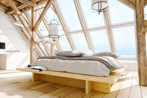 Bedroom「Scandinavian Style Loft Bedroom Interior」:スマホ壁紙(17)