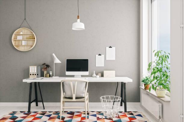 Scandinavian Style Modern Home Office Interior:スマホ壁紙(壁紙.com)