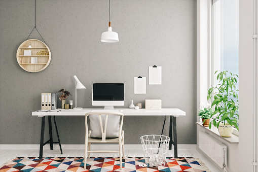 Domestic Life「Scandinavian Style Modern Home Office Interior」:スマホ壁紙(1)