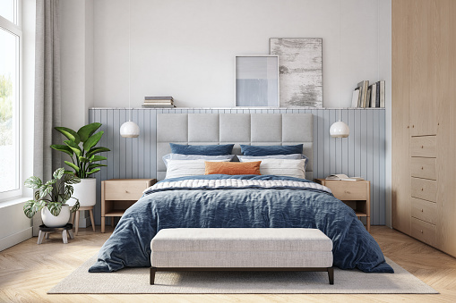 Rug「Scandinavian bedroom interior - stock photo」:スマホ壁紙(5)