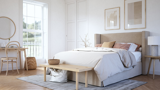 Youth Culture「Scandinavian bedroom interior - stock photo」:スマホ壁紙(13)