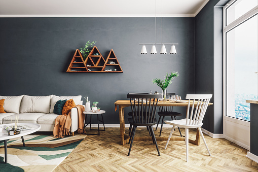 Gray Color「Scandinavian Style Living And Dining Room」:スマホ壁紙(4)