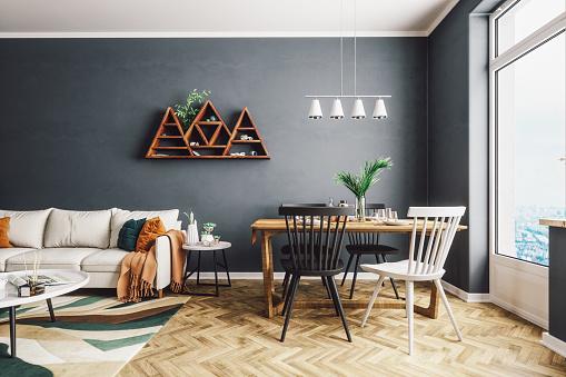 Dark「Scandinavian Style Living And Dining Room」:スマホ壁紙(2)