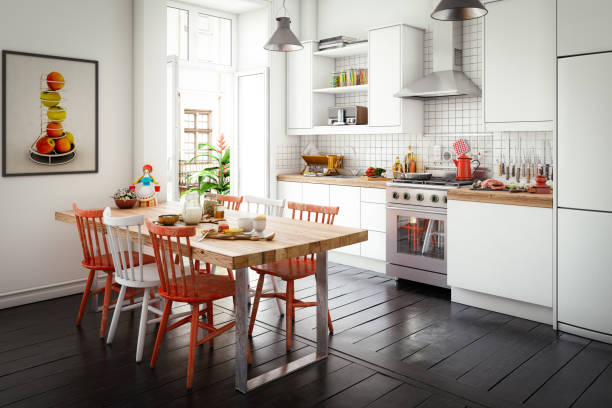 Scandinavian Domestic Kitchen and Dining Room:スマホ壁紙(壁紙.com)