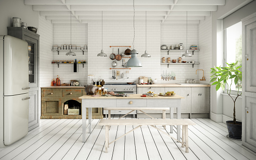 Front View「Scandinavian Domestic Kitchen and Dining Room」:スマホ壁紙(6)