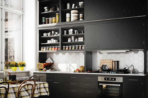 Black Color「Scandinavian Domestic Kitchen」:スマホ壁紙(6)
