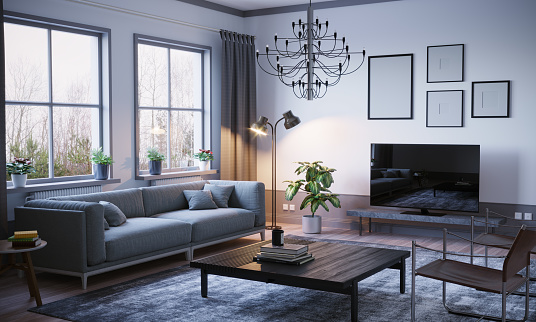 Digitally Generated Image「Scandinavian Style Living Room Interior」:スマホ壁紙(13)